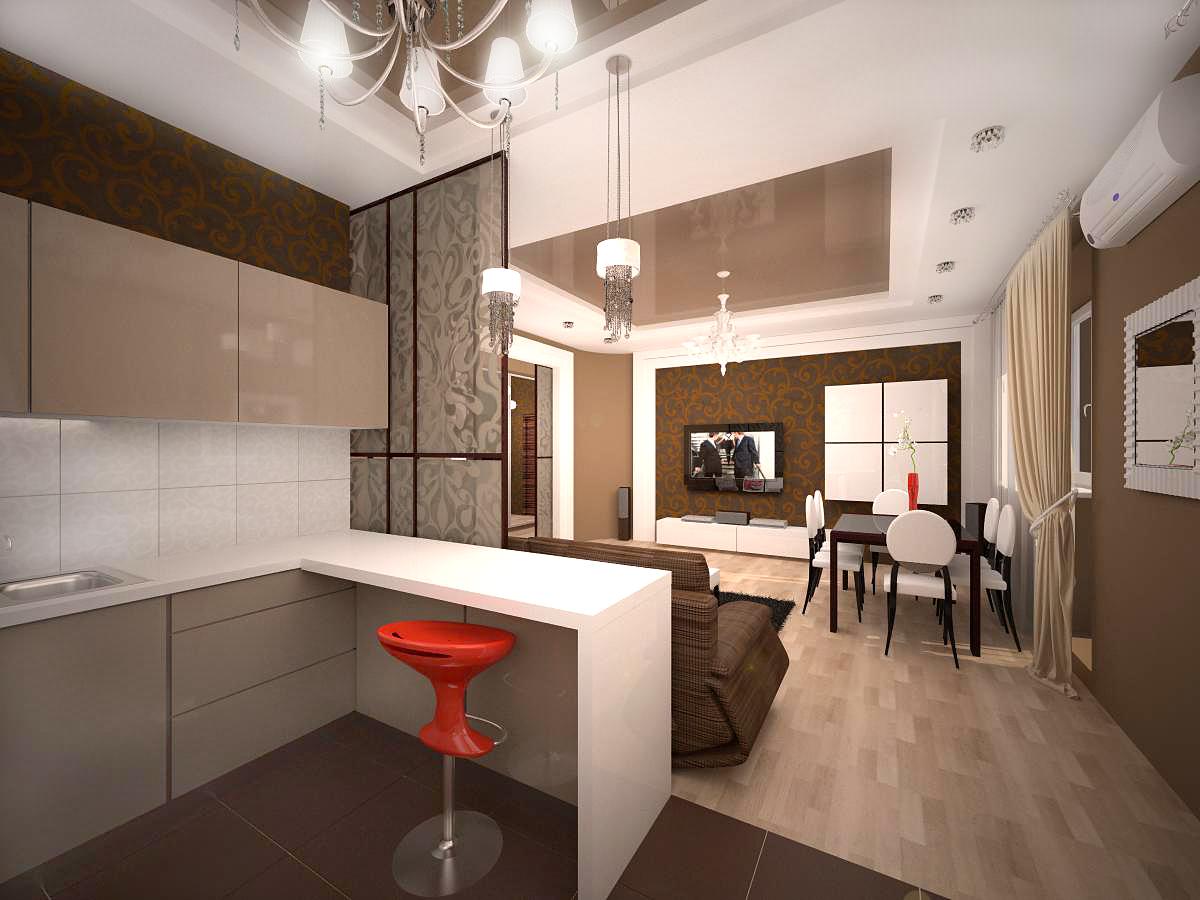 Смотреть фото кухни в квартире студии