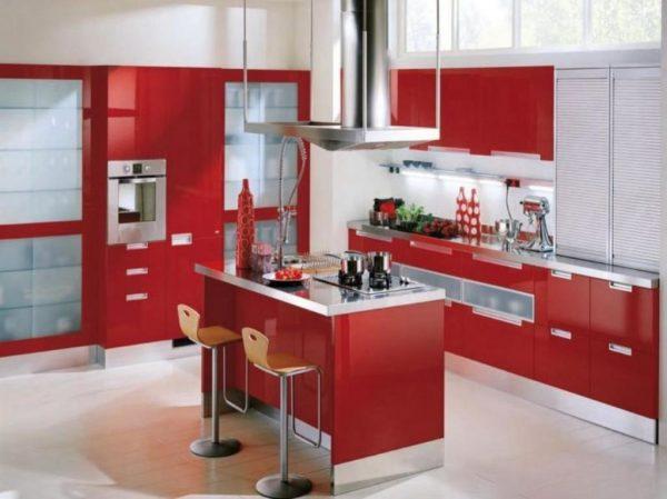 Modern Red Kitchen Cabinets 1024x767
