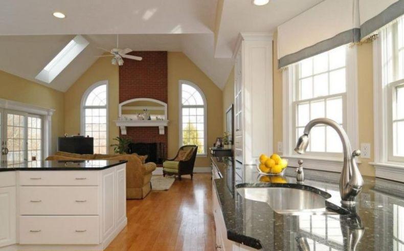 Modern kitchen and living room interior design