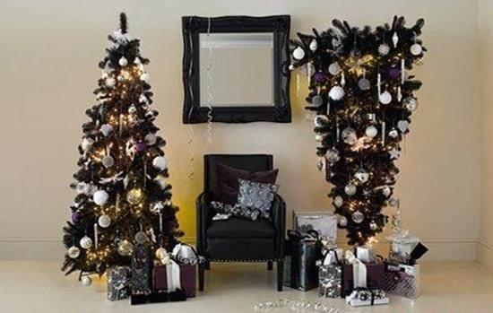 upside down christmas tree and regular tree